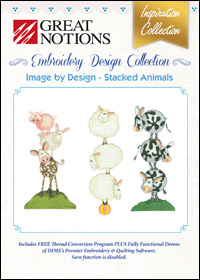 Great Notions Embroidery Designs - Image by Design – Stacked Animals