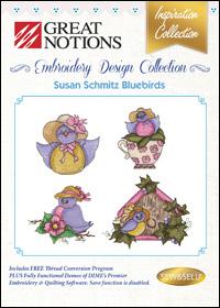 Great Notions Embroidery Designs - Susan Schmitz Bluebirds