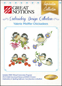 Great Notions Embroidery Designs - Valerie Pfeiffer Chickadees