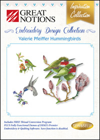 Great Notions Embroidery Designs - Valerie Pfeiffer Hummingbirds