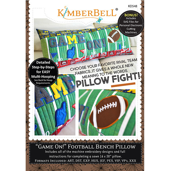 Kimberbell Designs - Bench Pillow, Game On! Football, Machine Embroidery